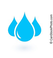 isolated drops - blue icon with isolated drops on white...