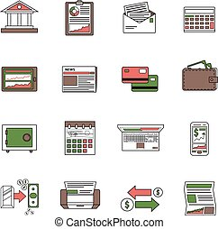 Bank Icons Outline - Bank icons outline set with financial...