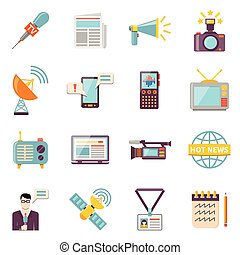 Mass Media Icons Set - Mass media icons set with...