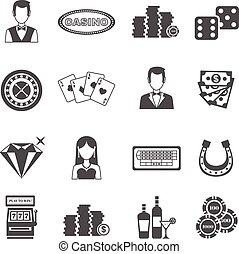 Casino Black White Icons Set - Casino black white icons set...