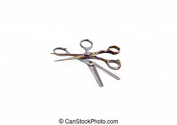 two hairdressing scissors - hairdressing scissors and combs...