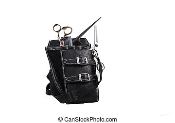 hairdresser case with scissors - hairdressing scissors and...