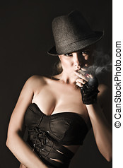 Underworld Gangster Woman - Moody underworld portrait of a...