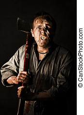 Living Dead Killer Zombie - A killer zombie holding an axe...