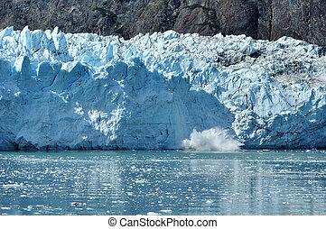 Calving, Tidewater Margerie Glacier, Alaska - Calving,...