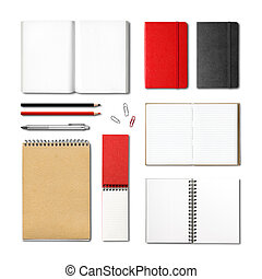 stationery books and notebooks mockup template isolated on...