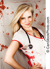 Bloodstained Sadistic Nurse - Beautiful sadistic nurse in a...