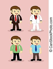 Cute Cartoon Businessman Vector Icon Set - Set of four...