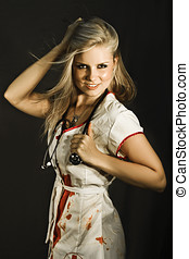 Dead Sexy Nurse Standing Wearing Blood Stained Nurses...