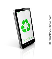 Smartphone with a recycle symbol on screen. environmental conservation concept