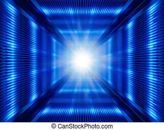 futuristic light in tunnel - greased bright multi-colored...