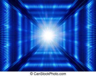 futuristic light in tunnel - greased bright multi-colored...