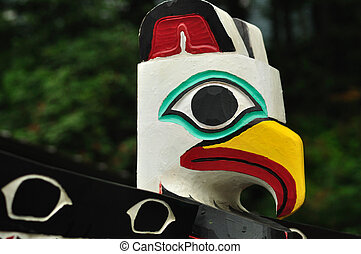 Close-up of Eagle Totem Pole in Juneau, Alaska