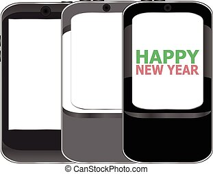 Smart phone with Happy New Year greetings on the screen, Vector holiday card