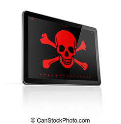Tablet PC with a pirate symbol on screen. Hacking concept -...