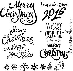Christmas Retro Icons, Elements And Illustrations Set happy new year 2016