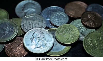 coins on black background