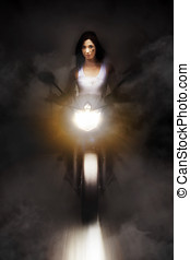 Motorcyclist Riding Bike At Fast Pace - Artistic Photo Of A...