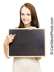 Natural Girl Holding Chalkboard - Beautiful smiling natural...