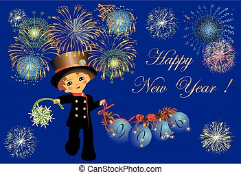 chimney sweep and New Year, - composition with fireworks and...