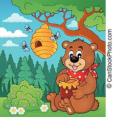 Bear with honey theme image 2 - eps10 vector illustration