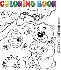 Coloring book bear theme 1 - eps10 vector illustration