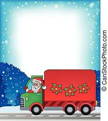 Frame with Christmas van theme 1