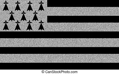 Flags Brittany on denim texture. Vector - Flags of Brittany...