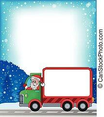 Frame with Christmas van theme 2