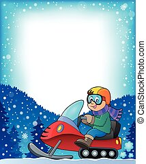 Frame with snowmobile theme 1 - eps10 vector illustration