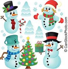 Christmas snowmen theme collection 1 - eps10 vector...