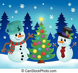 Christmas snowmen theme image 1 - eps10 vector illustration