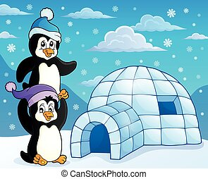 Igloo with penguins theme 3 - eps10 vector illustration