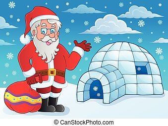 Igloo with Santa Claus theme 4 - eps10 vector illustration.