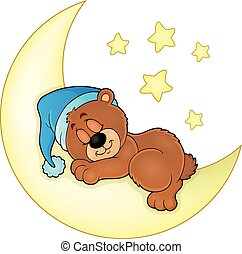 Sleeping bear theme image 4 - eps10 vector illustration.