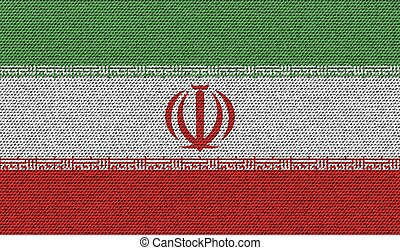 Flags Iran on denim texture. Vector - Flags of Iran on denim...