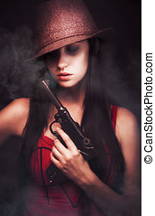 Mobster Toting A Gun - Sexy woman mobster with her hat...