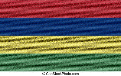 Flags Mauritius on denim texture. Vector