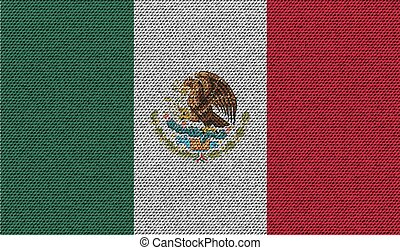 Flags Mexico on denim texture. Vector