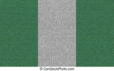 Flags Nigeria on denim texture. Vector - Flags of Nigeria on...