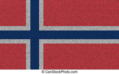 Flags Norway on denim texture Vector - Flags of Norway on...