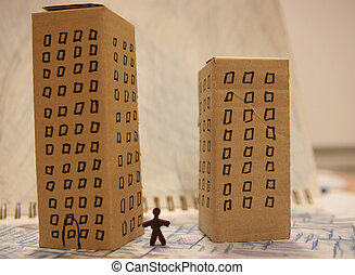 Fake urbanism - Detail of toy city made of cardboard