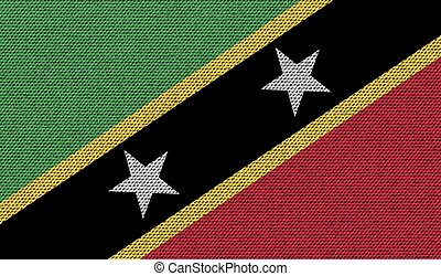 Flags Saint Kitts Nevis on denim texture. Vector - Flags of...