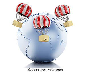 3d Earth globe with cardboard boxes.