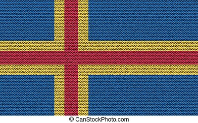 Flags Aland on denim texture Vector - Flags of Aland on...