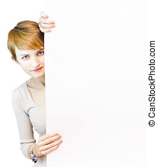 Beautiful Woman Holding Blank Copyspace Board - Beautiful...