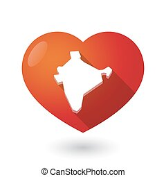 Isolated red heart with  a map of India