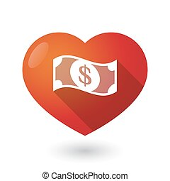 Isolated red heart with a dollar bank note - Illustration of...