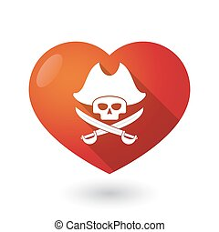 Isolated red heart with a pirate skull