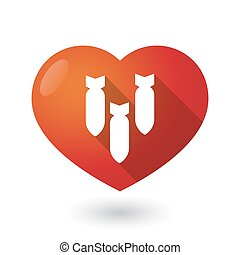 Isolated red heart with three bombs falling
